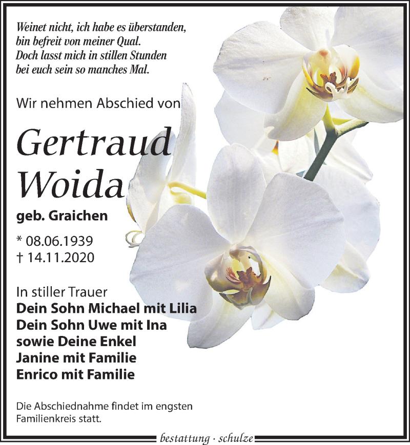 Traueranzeige für Gertraud Woida vom 21.11.2020 aus Leipziger Volkszeitung