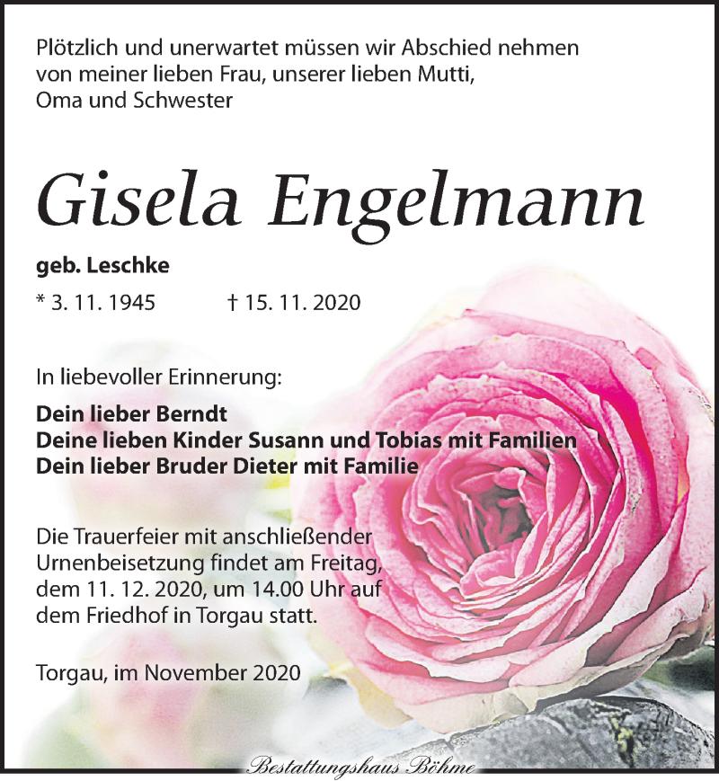 Traueranzeige für Gisela Engelmann vom 21.11.2020 aus Torgauer Zeitung