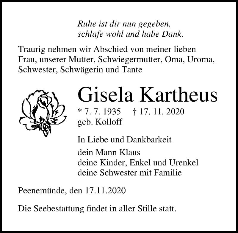 Traueranzeige für Gisela Kartheus vom 21.11.2020 aus Ostsee-Zeitung GmbH