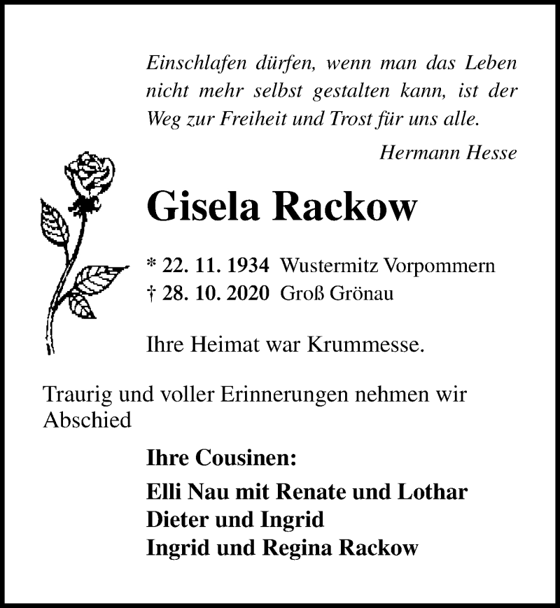 Traueranzeige für Gisela Rackow vom 07.11.2020 aus Lübecker Nachrichten