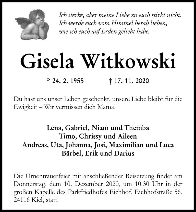 Traueranzeige für Gisela Witkowski vom 28.11.2020 aus Kieler Nachrichten