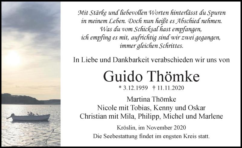 Traueranzeige für Guido Thömke vom 21.11.2020 aus Ostsee-Zeitung GmbH
