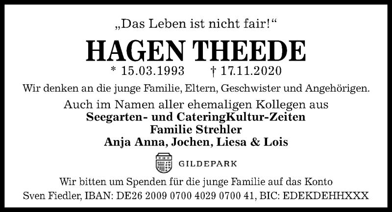 Traueranzeige für Hagen Theede vom 21.11.2020 aus Kieler Nachrichten