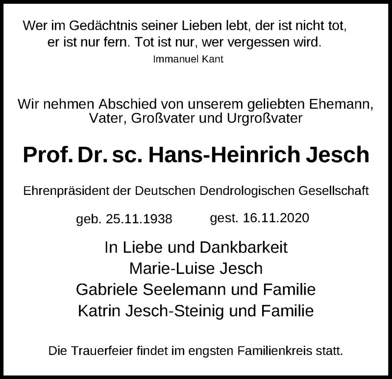 Traueranzeige für Hans-Heinrich Jesch vom 21.11.2020 aus Leipziger Volkszeitung
