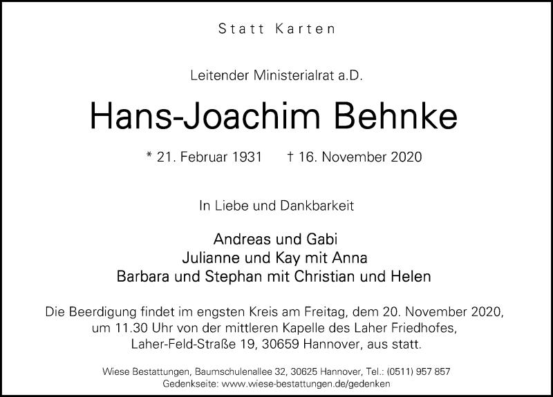 Traueranzeige für Hans-Joachim Behnke vom 18.11.2020 aus Hannoversche Allgemeine Zeitung/Neue Presse