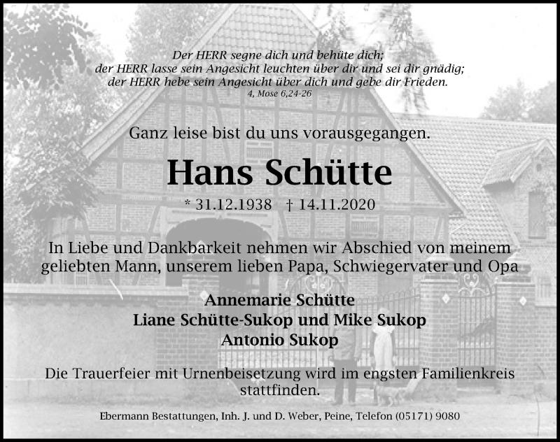 Traueranzeige für Hans Schütte vom 21.11.2020 aus Peiner Allgemeine Zeitung