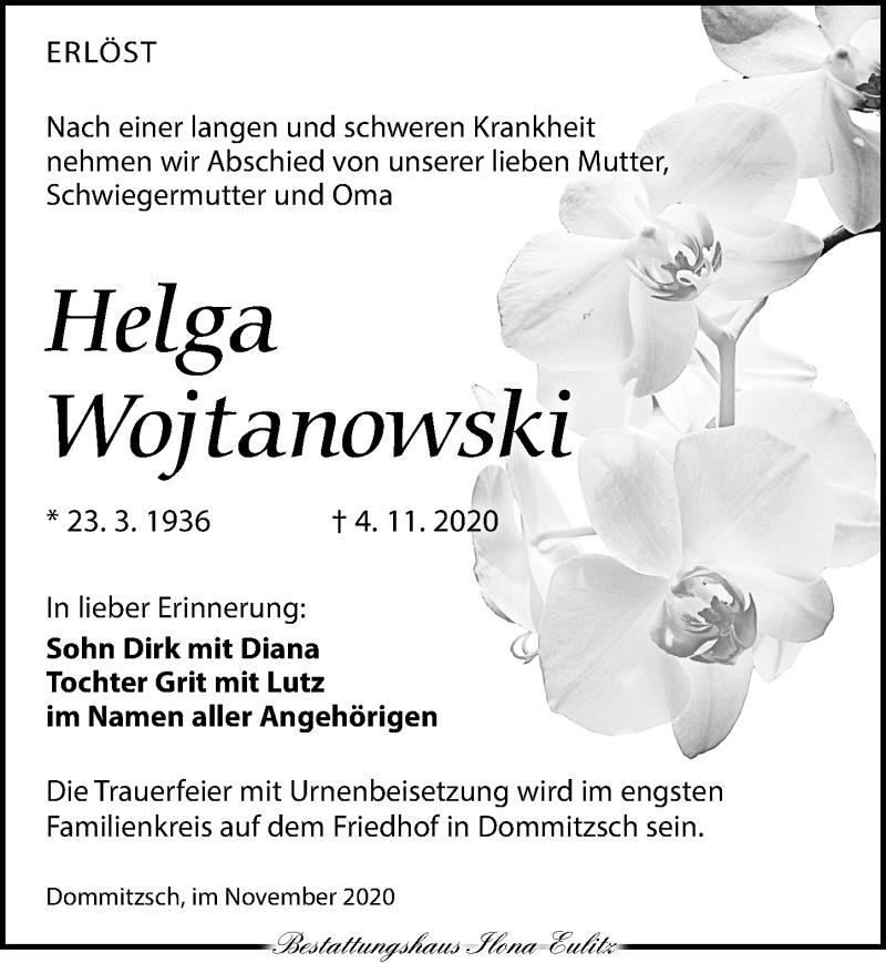 Traueranzeige für Helga Wojtanowski vom 14.11.2020 aus Torgauer Zeitung