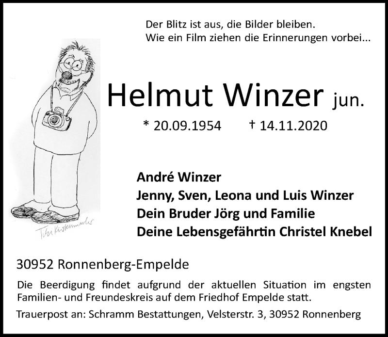 Traueranzeige für Helmut Winzer vom 21.11.2020 aus Hannoversche Allgemeine Zeitung/Neue Presse
