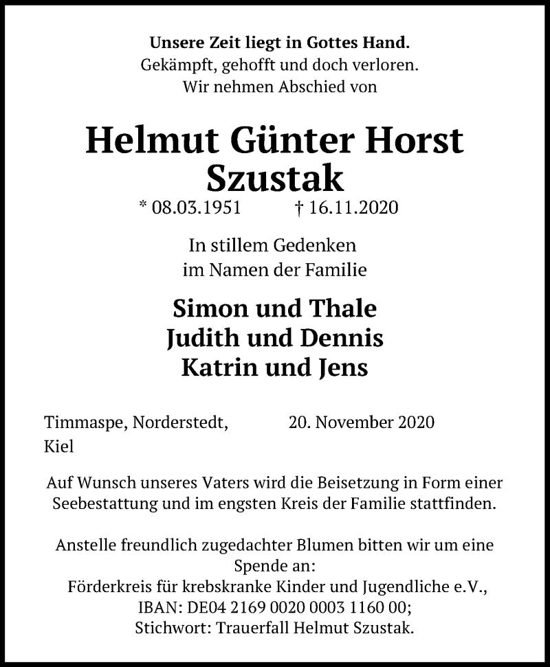 Traueranzeige für Helmut Günter Horst Szustak vom 21.11.2020 aus Kieler Nachrichten