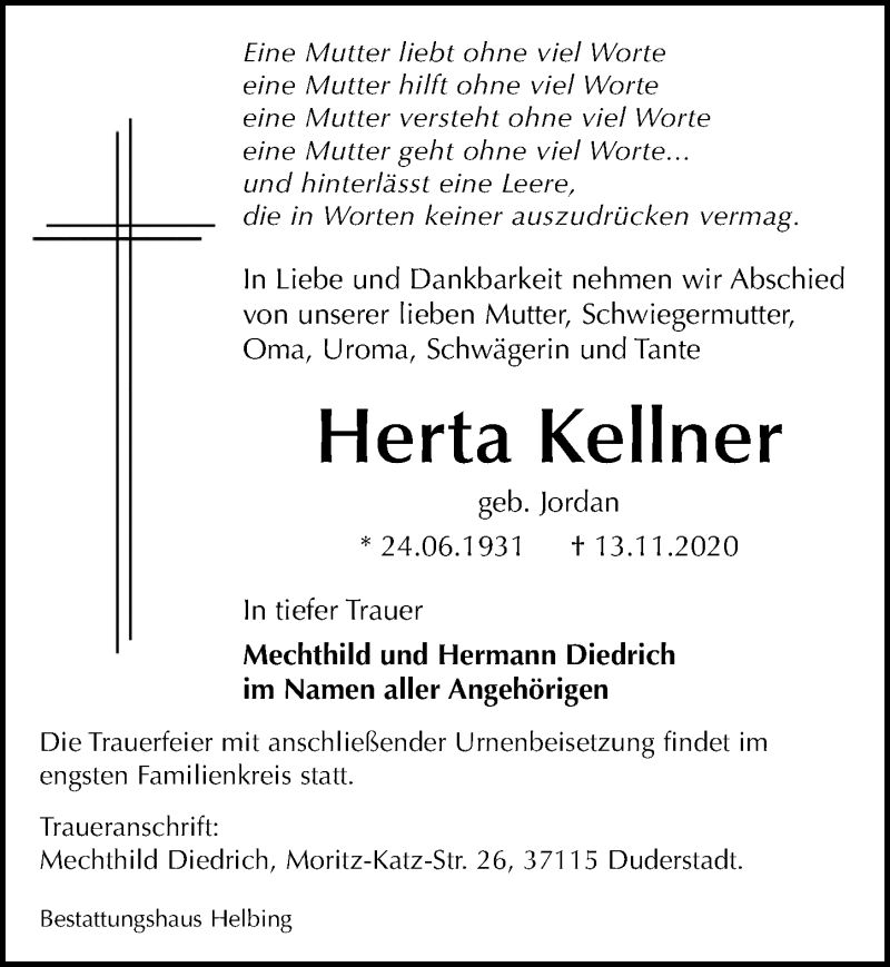 Traueranzeige für Herta Kellner vom 19.11.2020 aus Eichsfelder Tageblatt