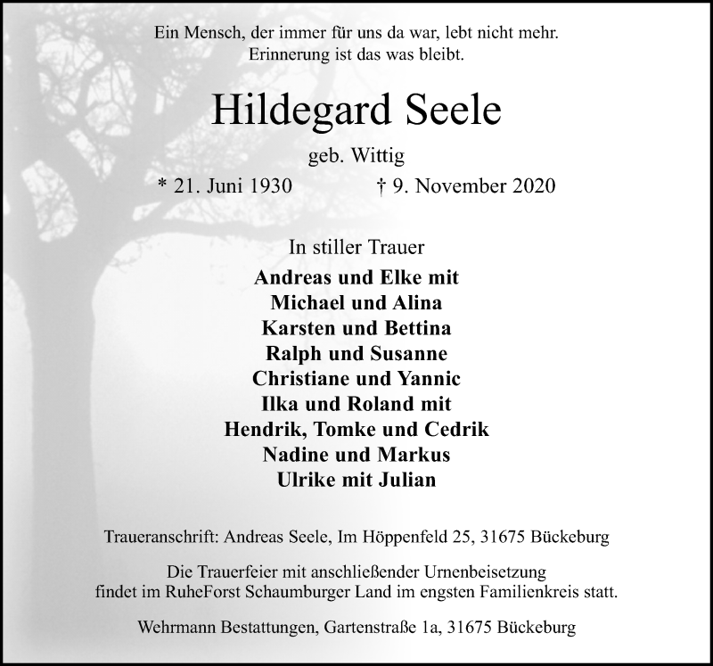 Traueranzeige für Hildegard Seele vom 14.11.2020 aus Schaumburger Nachrichten