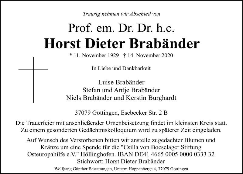 Traueranzeige für Horst Dieter Brabänder vom 21.11.2020 aus Göttinger Tageblatt