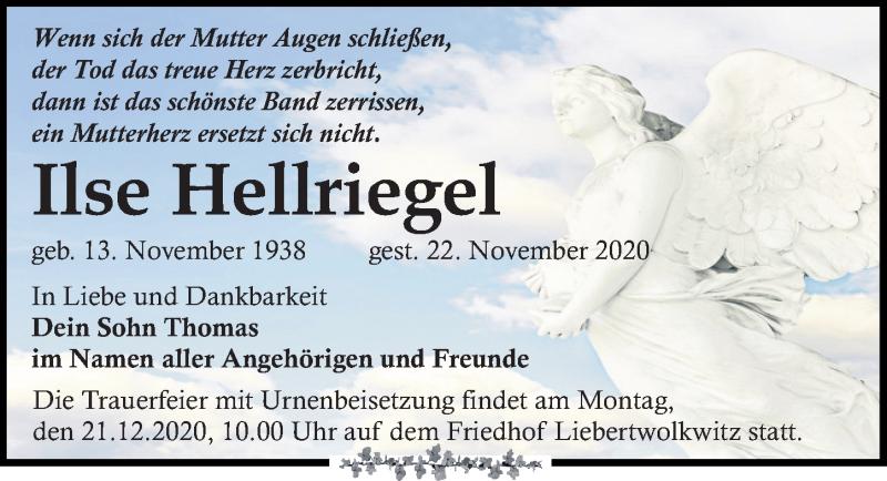 Traueranzeige für Ilse Hellriegel vom 28.11.2020 aus Leipziger Volkszeitung