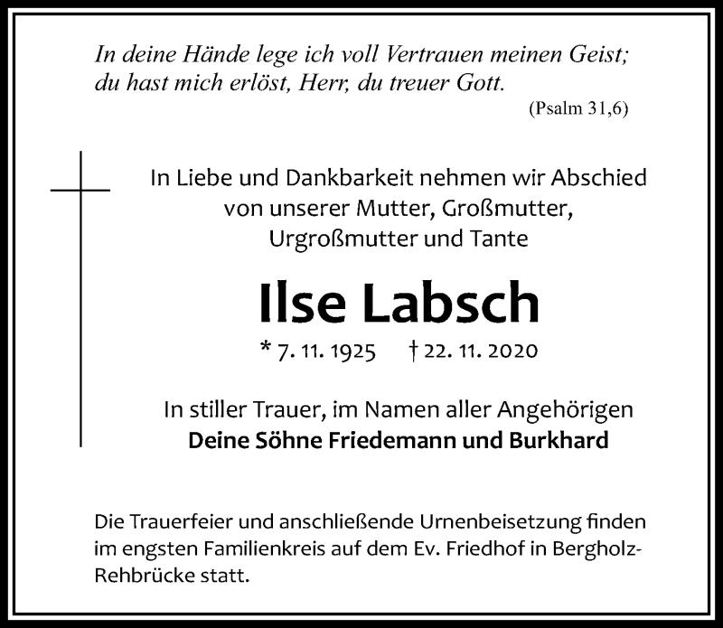 Traueranzeige für Ilse Labsch vom 28.11.2020 aus Märkischen Allgemeine Zeitung