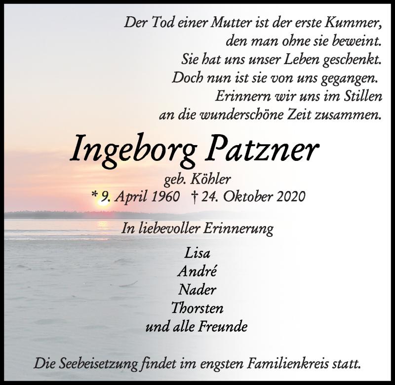 Traueranzeige für Ingeborg Patzner vom 07.11.2020 aus Kieler Nachrichten