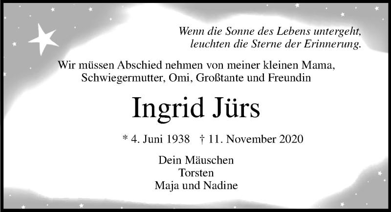 Traueranzeige für Ingrid Jürs vom 15.11.2020 aus Lübecker Nachrichten