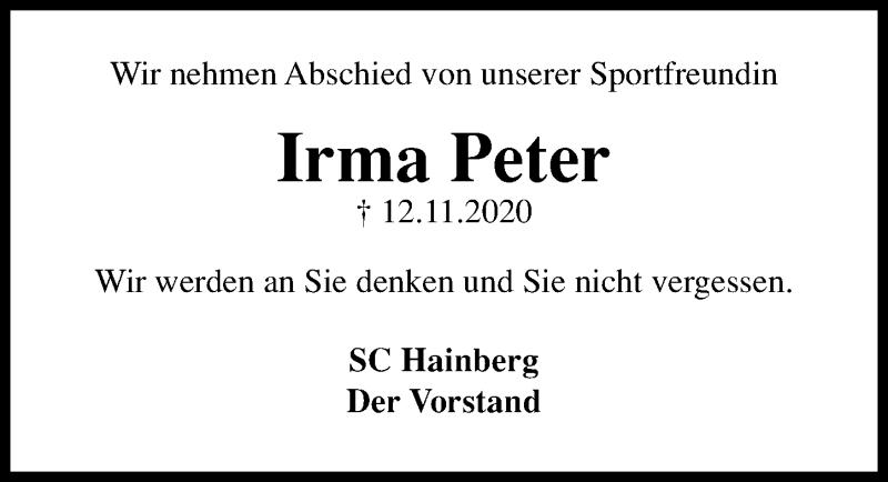 Traueranzeige für Irma Peter vom 21.11.2020 aus Göttinger Tageblatt