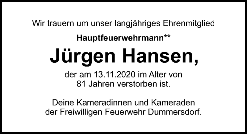 Traueranzeige für Jürgen Hansen vom 29.11.2020 aus Lübecker Nachrichten