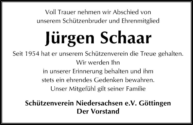 Traueranzeige für Jürgen Schaar vom 21.11.2020 aus Göttinger Tageblatt