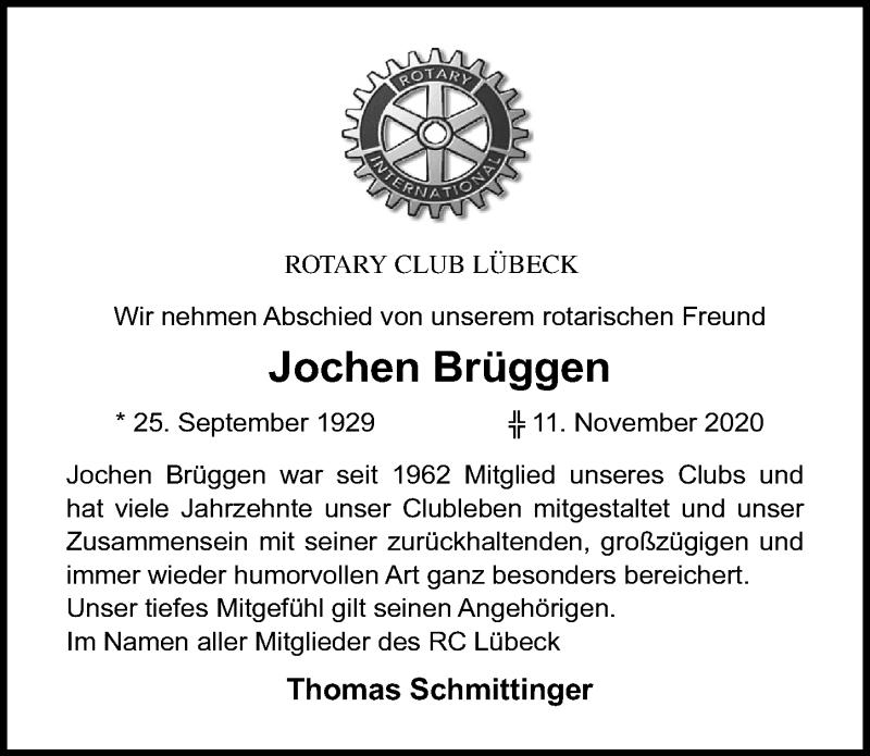 Traueranzeige für Jochen Brüggen vom 22.11.2020 aus Lübecker Nachrichten