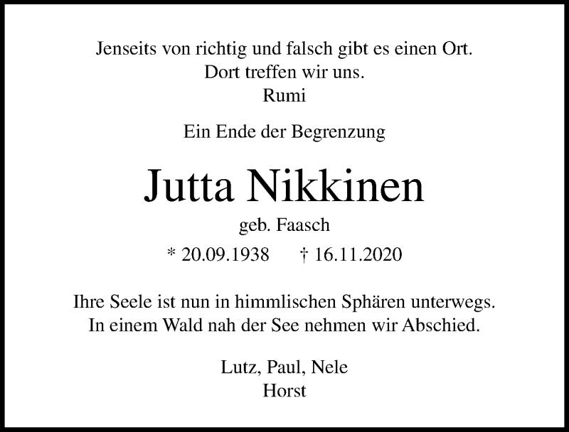 Traueranzeige für Jutta Nikkinen vom 22.11.2020 aus Lübecker Nachrichten