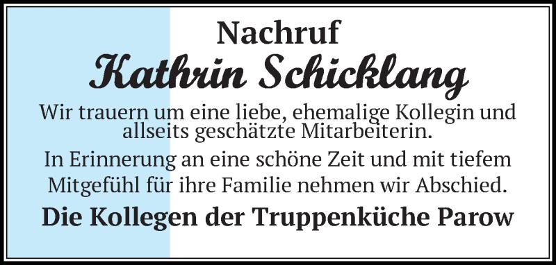 Traueranzeige für Kathrin Schicklang vom 21.11.2020 aus Ostsee-Zeitung GmbH