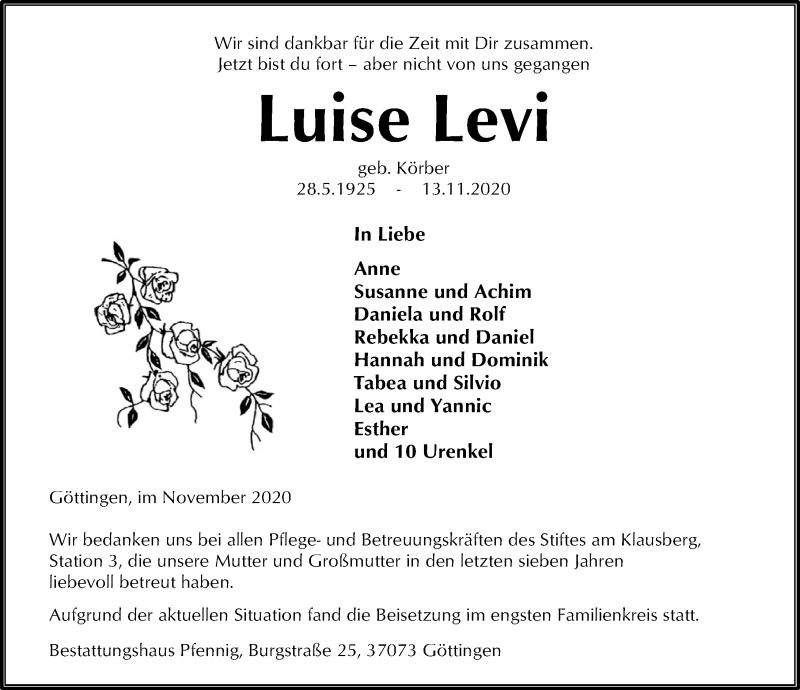 Traueranzeige für Luise Levi vom 21.11.2020 aus Göttinger Tageblatt