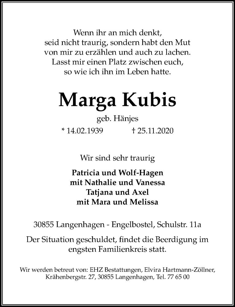 Traueranzeige für Marga Kubis vom 28.11.2020 aus Hannoversche Allgemeine Zeitung/Neue Presse