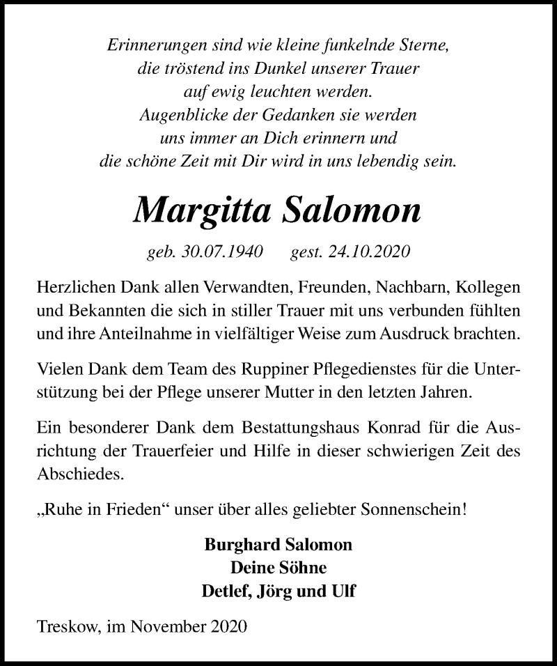 Traueranzeige für Margitta Salomon vom 21.11.2020 aus Märkischen Allgemeine Zeitung