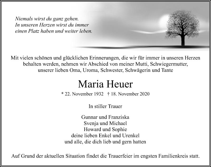 Traueranzeige für Maria Heuer vom 21.11.2020 aus Ostsee-Zeitung GmbH