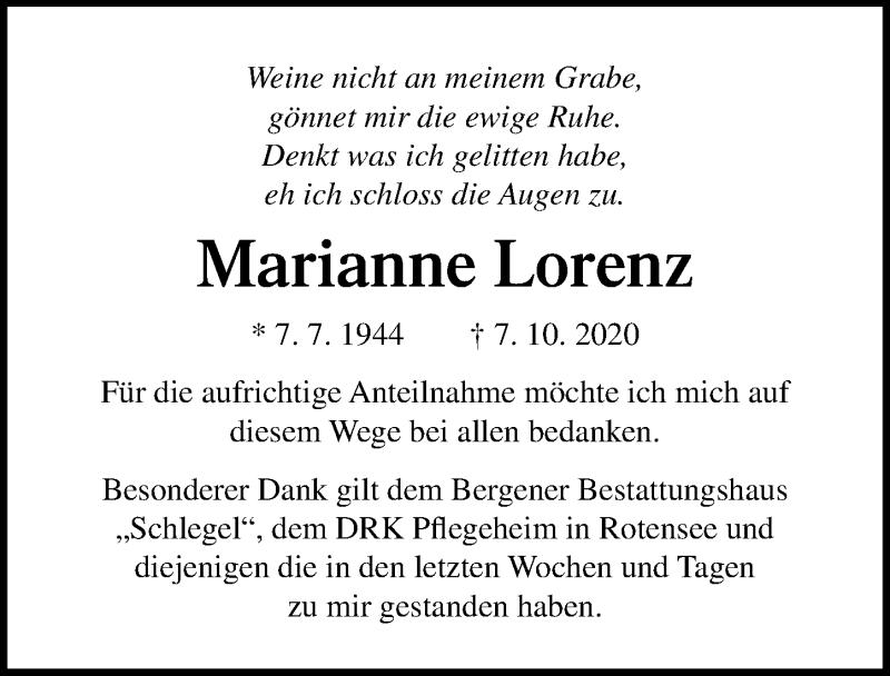 Traueranzeige für Marianne Lorenz vom 07.11.2020 aus Ostsee-Zeitung GmbH