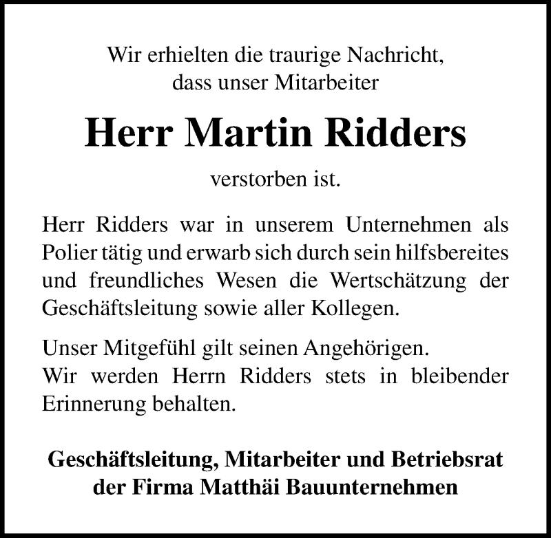 Traueranzeige für Martin Ridders vom 19.11.2020 aus Lübecker Nachrichten