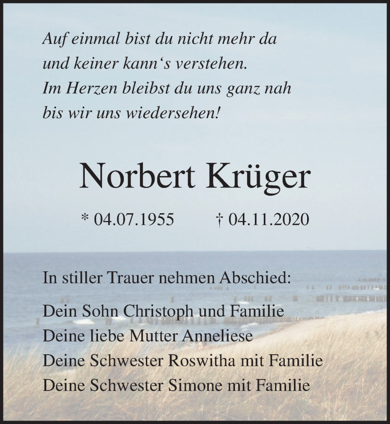 Traueranzeige für Norbert Krüger vom 14.11.2020 aus Ostsee-Zeitung GmbH