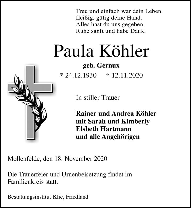 Traueranzeige für Paula Köhler vom 18.11.2020 aus Göttinger Tageblatt