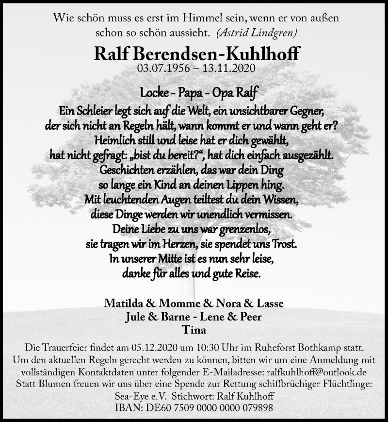 Traueranzeige für Ralf Berendsen-Kuhlhoff vom 29.11.2020 aus Lübecker Nachrichten