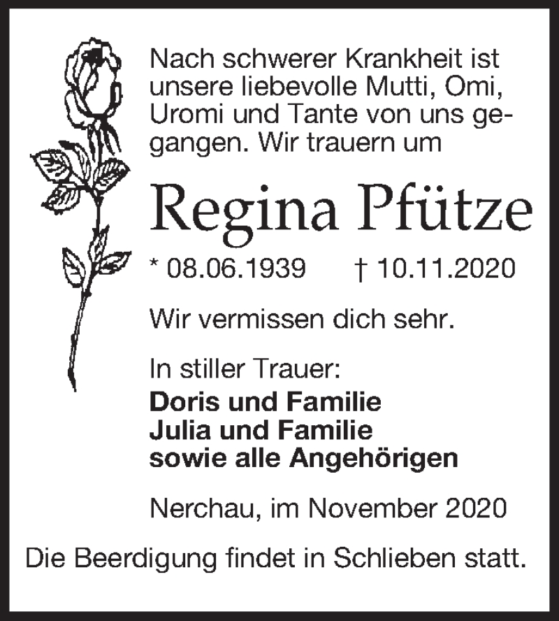 Traueranzeige für Regina Pfütze vom 21.11.2020 aus Leipziger Volkszeitung