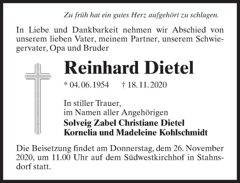 Traueranzeige für Reinhard Dietel vom 21.11.2020 aus Märkischen Allgemeine Zeitung