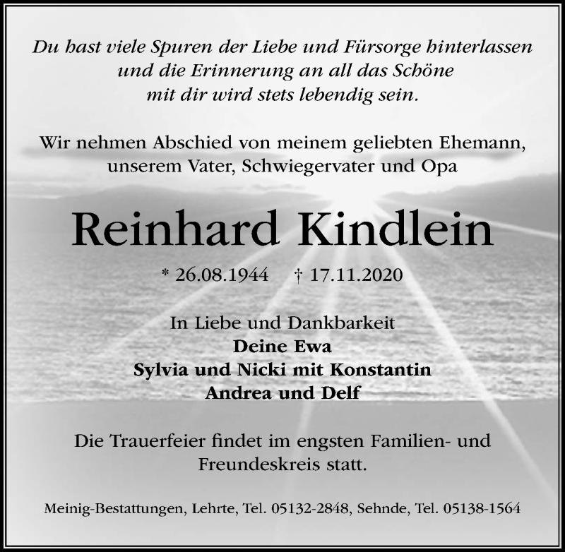 Traueranzeige für Reinhard Kindlein vom 21.11.2020 aus Hannoversche Allgemeine Zeitung/Neue Presse