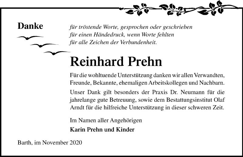 Traueranzeige für Reinhard Prehn vom 28.11.2020 aus Ostsee-Zeitung GmbH