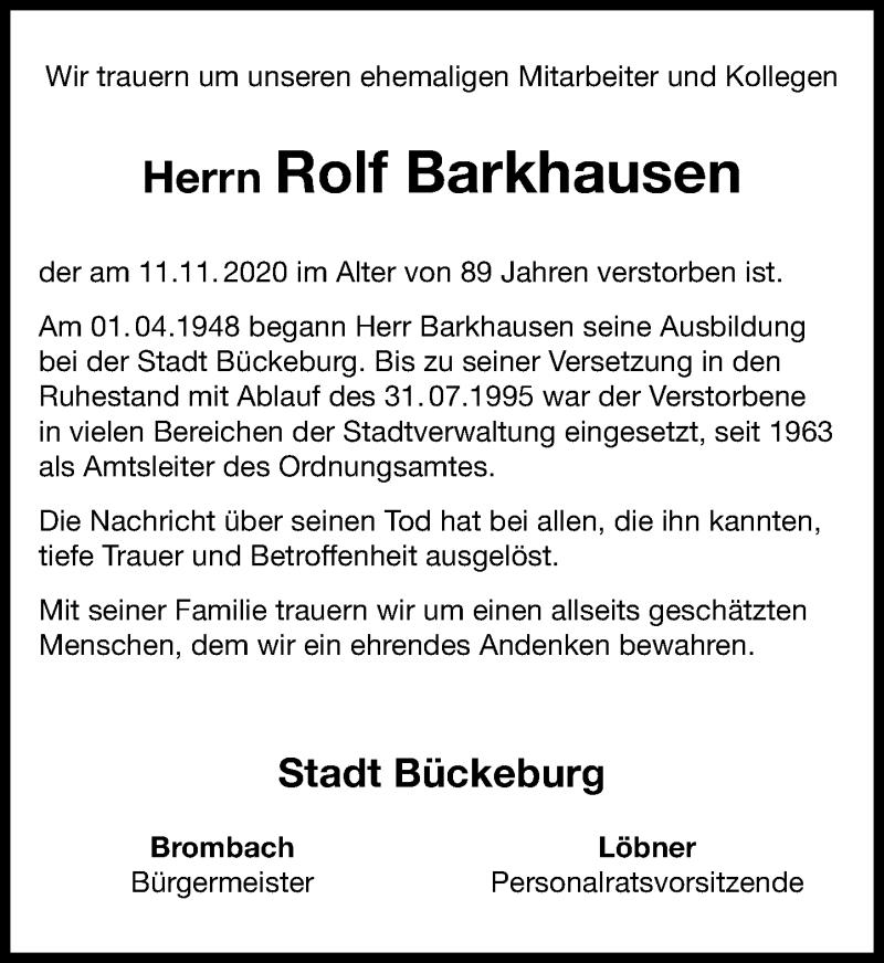 Traueranzeige für Rolf Barkhausen vom 18.11.2020 aus Schaumburger Nachrichten
