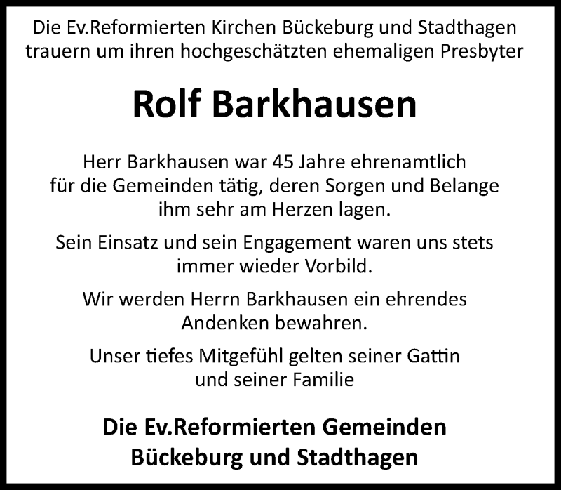 Traueranzeige für Rolf Barkhausen vom 21.11.2020 aus Schaumburger Nachrichten