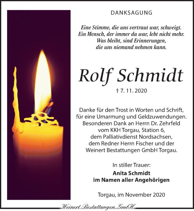 Traueranzeige für Rolf Schmidt vom 28.11.2020 aus Torgauer Zeitung
