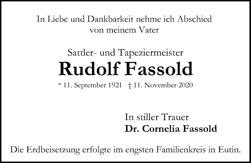 Traueranzeige für Rudolf Fassold vom 21.11.2020 aus Lübecker Nachrichten