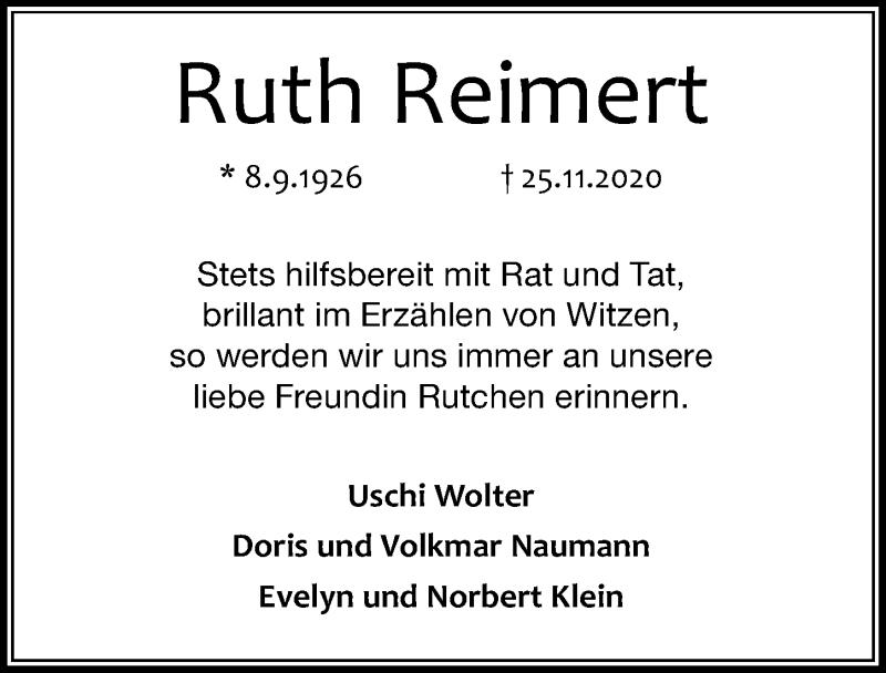Traueranzeige für Ruth Reimert vom 28.11.2020 aus Göttinger Tageblatt