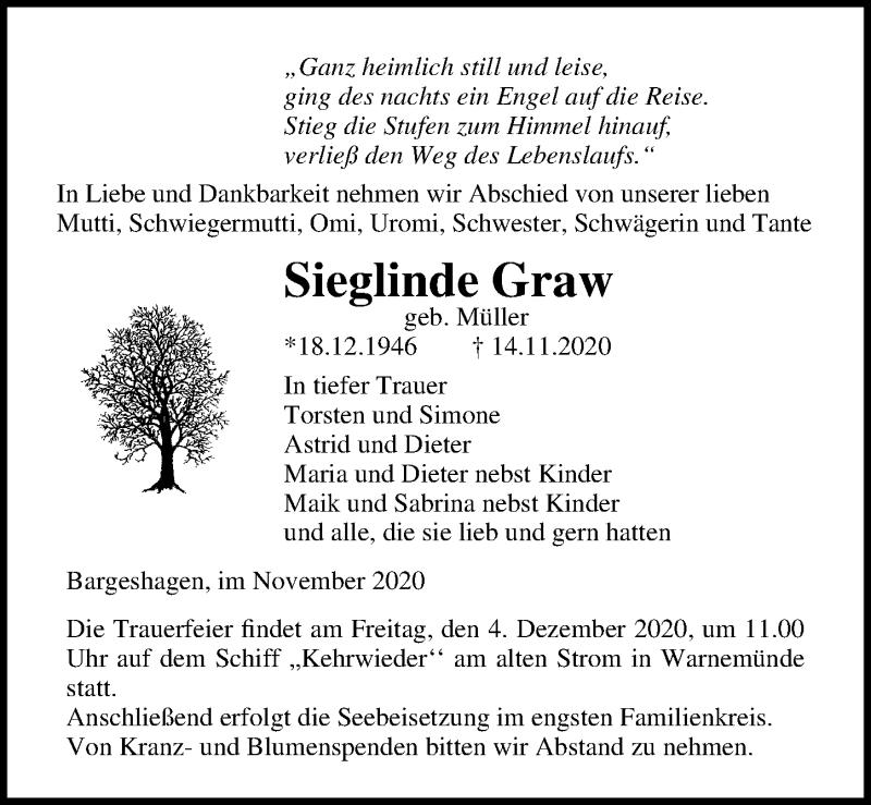 Traueranzeige für Sieglinde Graw vom 21.11.2020 aus Ostsee-Zeitung GmbH