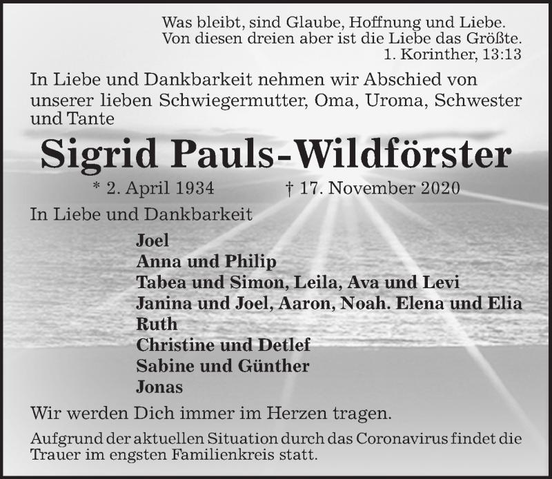 Traueranzeige für Sigrid Pauls-Wildförster vom 21.11.2020 aus Hannoversche Allgemeine Zeitung/Neue Presse