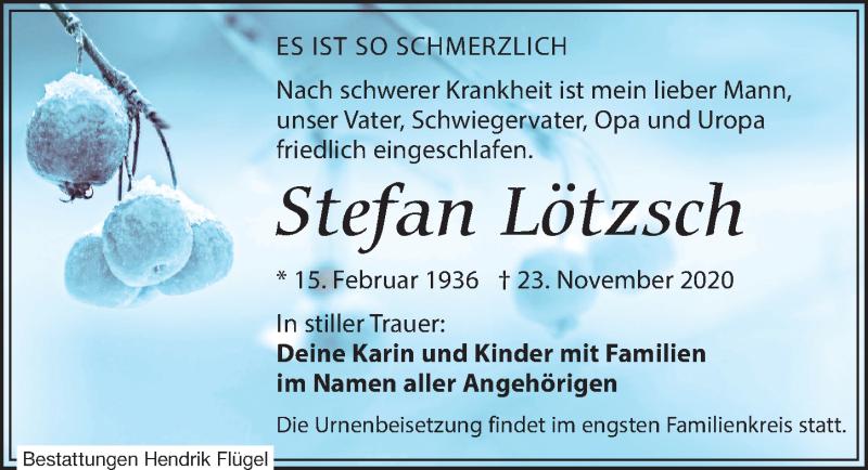 Traueranzeige für Stefan Lötzsch vom 28.11.2020 aus Leipziger Volkszeitung