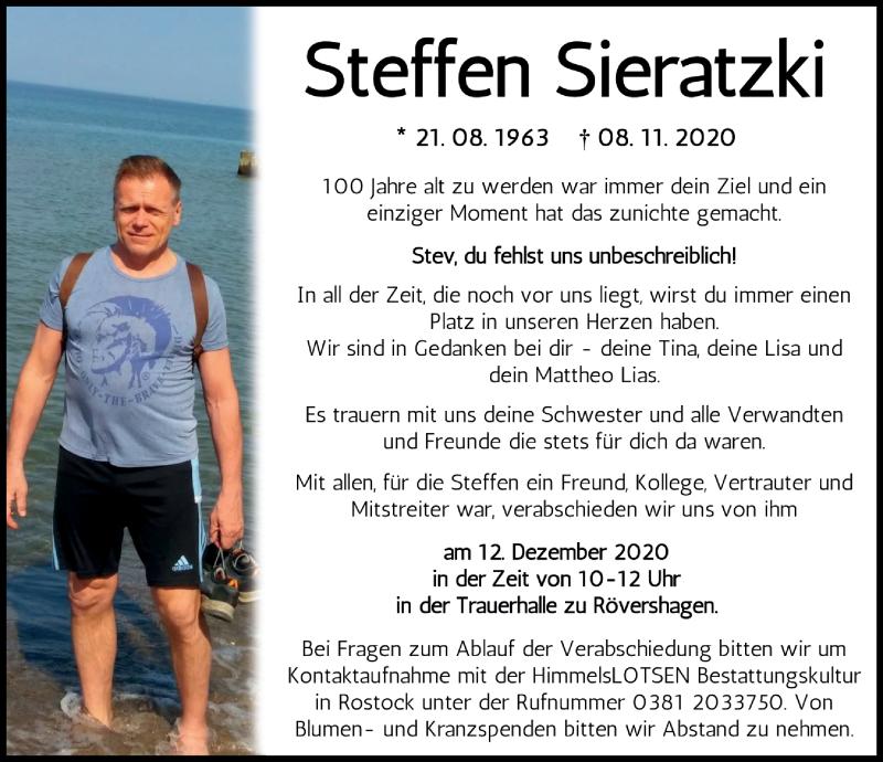 Traueranzeige für Steffen Sieratzki vom 28.11.2020 aus Ostsee-Zeitung GmbH