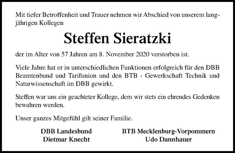 Traueranzeige für Steffen Sieratzki vom 21.11.2020 aus Ostsee-Zeitung GmbH