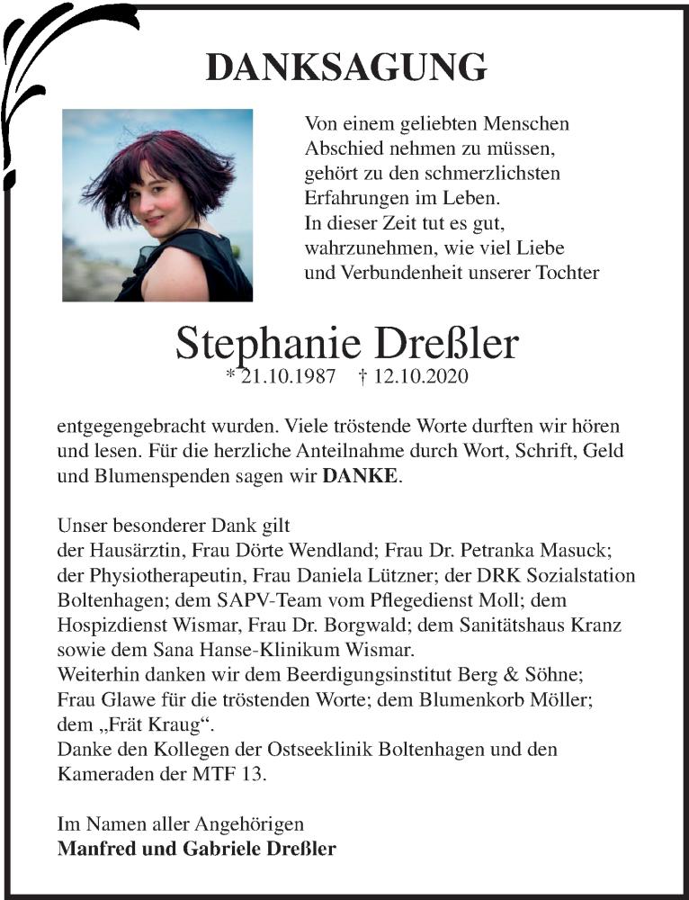 Traueranzeige für Stephanie Dreßler vom 14.11.2020 aus Ostsee-Zeitung GmbH